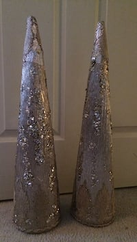 Two lace and sequin gold tall cones Monroe, 08831