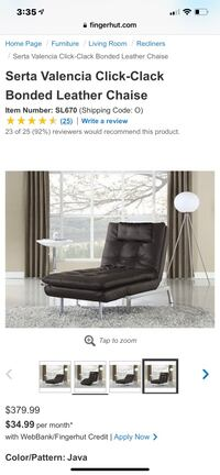 BRAND NEW!! Serta Brown Leather Adjustable Chaise lounge Foxboro, 02035