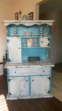 """Shabby chic wood buffet/hutch one piece 66""""T18""""D42 Apple Valley, 92308"""