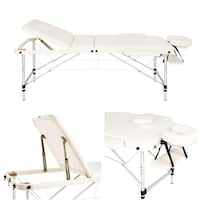 3-Section Aluminum Frame Portable Spa/Massage/Therapist Bed w Carrying Case in White Vaughan