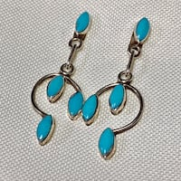 Classic Navajo Sterling Silver Turquoise Drop Earrings Ashburn