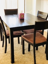 rectangular brown wooden table with four chairs dining set Phoenix, 85022