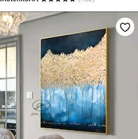 black, Navy Blue board with Gold painting of trees Pickering, L1V 6W5