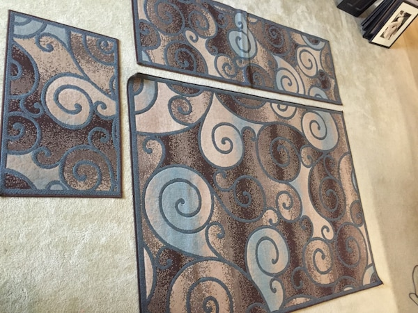 Used Brown And Blue Area Rug Hallway Runner And Door Mat