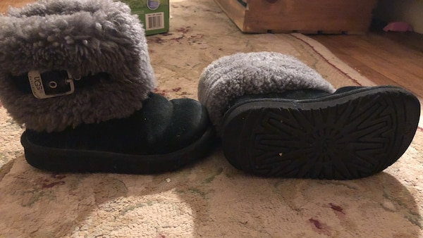 pair of black suede fur-lined boots