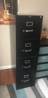 Black 4-drawer filing cabinet