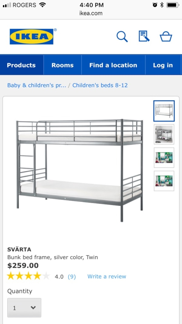 Ikea gray metal bunk bed screenshot