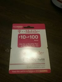 T-Mobile refill card, $40.00 loaded on it.  Blakely, 18452