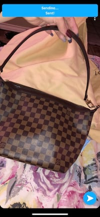 black and brown checked leather tote bag Lubbock, 79412
