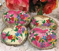 Hand Painted Wildflower Heart River Rocks~ paperweight, garden art! San Jose, 95124