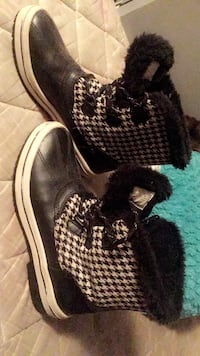 1 pair houndstooth print snow boots