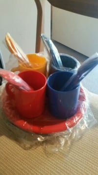Set for 4-Plastic cups/ dishes/ cutlery  Caledon, L7E 2K5