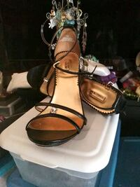 pair of brown leather open toe ankle strap sandals Newark, 07104