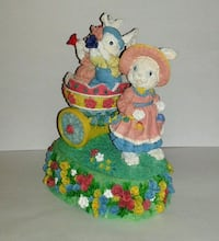 Porcelain EASTER BUNNY Music Box  Silver Spring