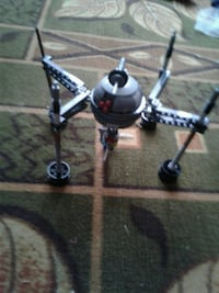 gray and black space ship toy