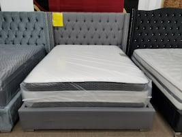 New gray linen material platform bed frame only