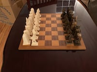 Carved camel bone chess set with wood board Elkridge, 21075
