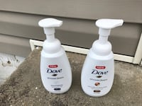 two dove shower foam pump bottles