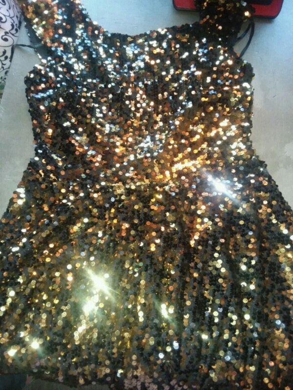 black and brown sequin sleeveless dress