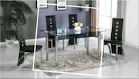 marble Table Black New with 4 Chairs Silver Spring, 20906