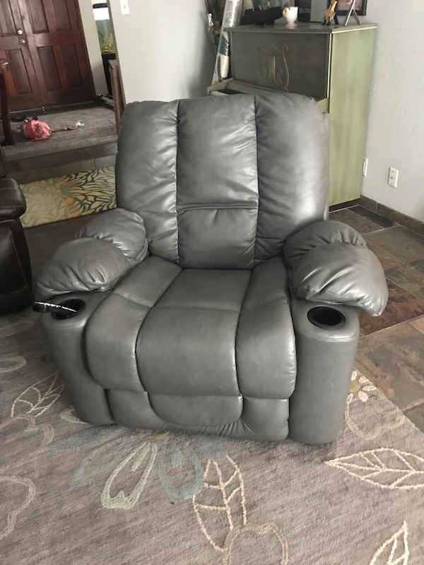 gray leather home theater sofa