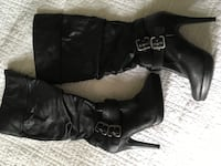 pair of black leather knee-high boots Media, 19063