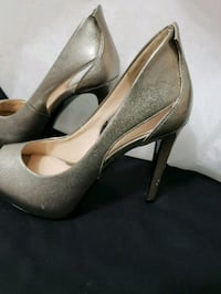 pair of gray leather peep toe platform pumps Lower Sackville, B4C