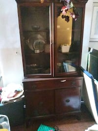 brown wooden framed glass display cabinet Washington, 20010