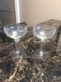 2 Beautifully Etched Crystal Champagne Glasses Mississauga, L5M 3A5
