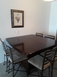 Rectangular brown wooden table with six chairs dining set Saint Petersburg, 33702