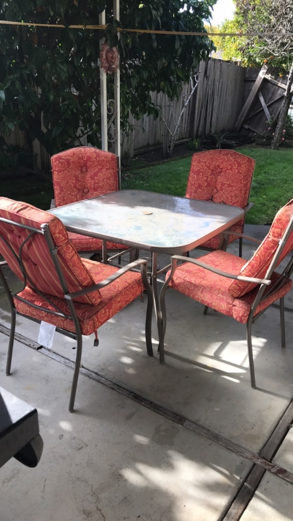 Used Square Gl Top Patio Table With Four Chairs Set For In Redwood City Letgo