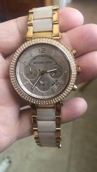 Round gold michael kors chronograph watch with link bracelet Cabo Coral, 33914