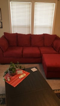 red suede sectional sofa with throw pillows Hampstead, 28443