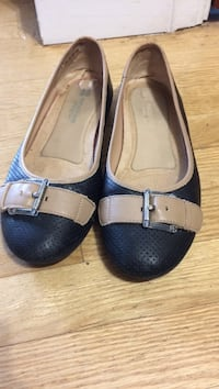 Black-and-brown leather flats gr.8.5