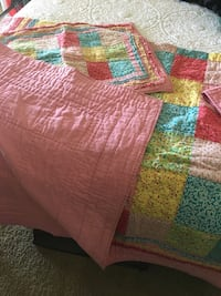 Twin size quilt and sham. Very good quality. Would be great for a girl's room