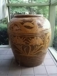 brown and white ceramic jar Hudson, 44236