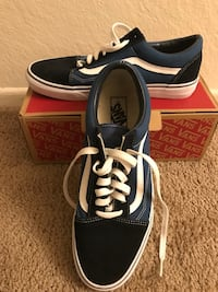 black-and-blue Vans old skool with box