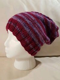 red, white, and black knit cap