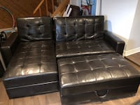 black leather tufted sectional sofa Brossard, J4Z