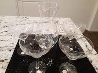 Margarita crystal glasses with decanter, Set of 4 glasses