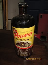 Great old Paper label 1940's Pullmite Motor Tune Up Bottle BRANTFORD
