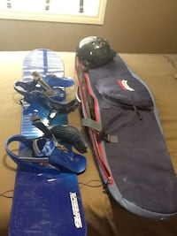 blue snowboard with case