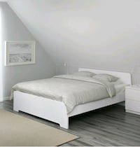 white wooden bed frame with white mattress Fairfax, 22030