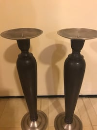 """Set of 2 brown wood brass candle holders 21"""" click on my profile picture on this page for more listings interested message me pick up in Gaithersburg Maryland 20877 all sales final  26 km"""