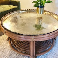 Vintage Brass and Rattan Moroccan Tea Table Claremont, 91711