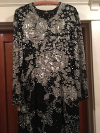Stunning Black Beaded Silver Evening Dress 2272 mi