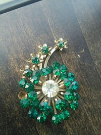 gem gemstone studded gold-colored brooch Vancouver, V5T 3G5