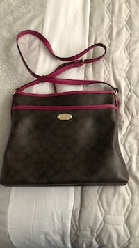 black and brown Coach leather crossbody bag Lancaster, 93536