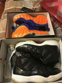 Pair of black-and-orange nike foamposite and Jordan's ..SIZE 9.5.