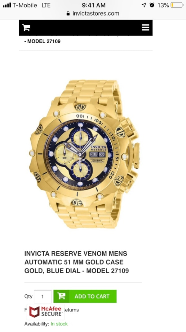 dde6a64601c Used Men watch INVICTA RESERVE VENOM MENS AUTOMATIC 51 MM GOLD CASE GOLD,  BLUE DIAL - MODEL 27109 for sale in Hollywood - letgo